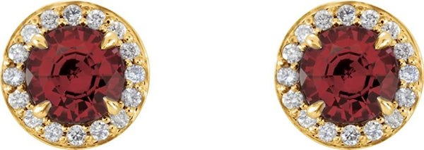 Mozambique Garnet and Diamond Halo-Style Earrings, 14k Yellow Gold (4MM) (.125 Ctw, G-H Color, I1 Clarity)