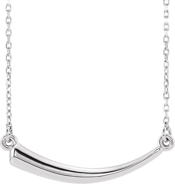 Platinum Mirror-Polished Horn Necklace, 18""