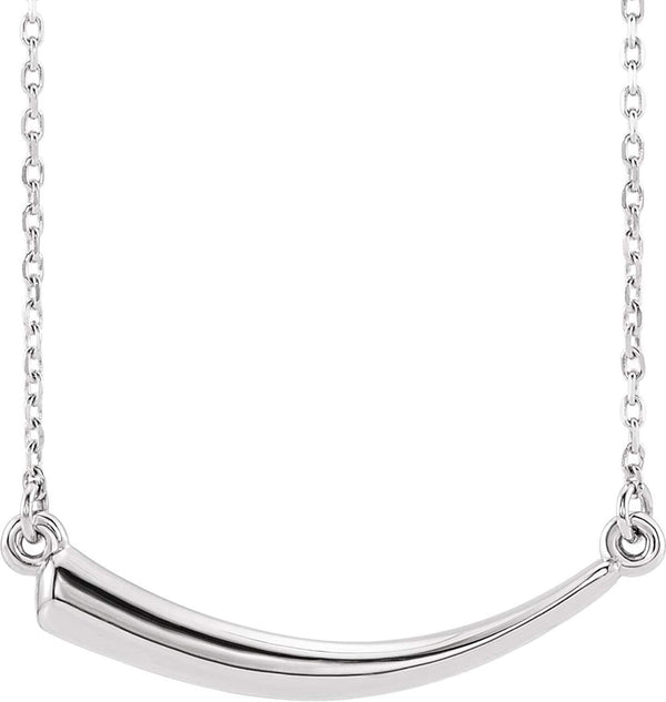 Mirror-Polished Horn Necklace, Rhodium-Plated 14k White Gold, 18""