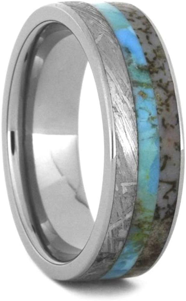 Turquoise, Dinosaur Bone, Gibeon Meteorite 7mm Titanium Comfort-Fit Wedding Band, Size 13.25