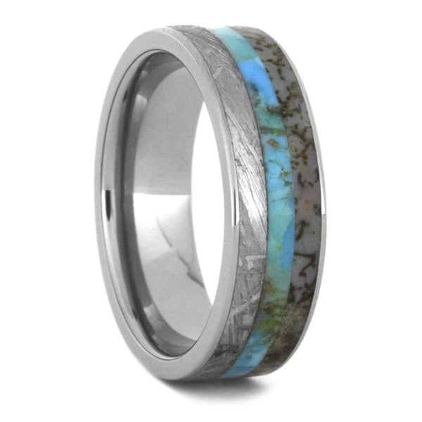 Turquoise, Dinosaur Bone, Gibeon Meteorite 7mm Titanium Comfort-Fit Wedding Band