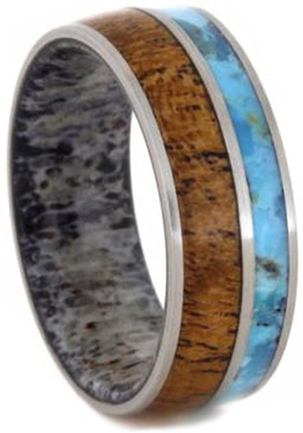 Turquoise, Mesquite Wood, Deer Antler Sleeve 7mm Comfort-Fit Brushed Titanium Wedding Band, Size 6.75