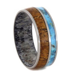 Turquoise, Mesquite Wood, Deer Antler Sleeve 7mm Comfort-Fit Brushed Titanium Wedding Band