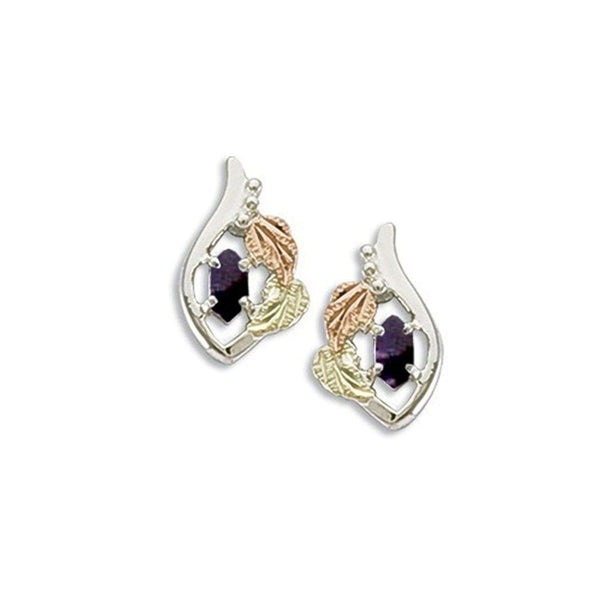 Created Soude Amethyst Marquise February Birthstone Earrings, Sterling Silver, 12k Green and Rose Gold Black Hills Gold Motif
