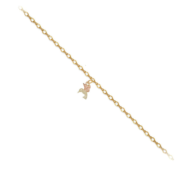 Black Hills Gold 10k Yellow Gold, 12k Green and Rose Gold Hummingbird Anklet, 10.5""