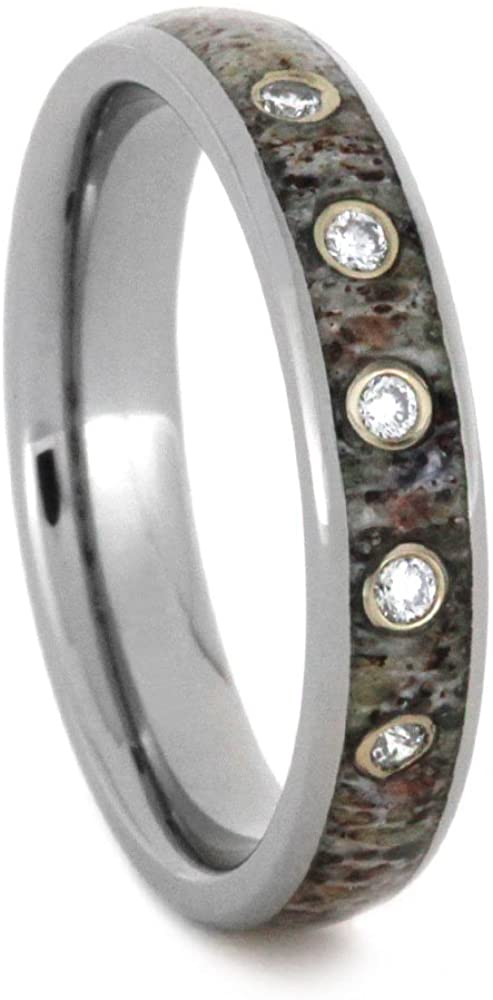 The Men's Jewelry Store (Unisex Jewelry) Five-Stone Diamond Deer Antler 4mm Comfort-Fit Titanium Wedding Ring