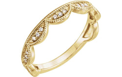 Diamond Scallop Stacking Ring, 14k Yellow Gold (.125 Ctw, GH Color, I1 Clarity) Size 6