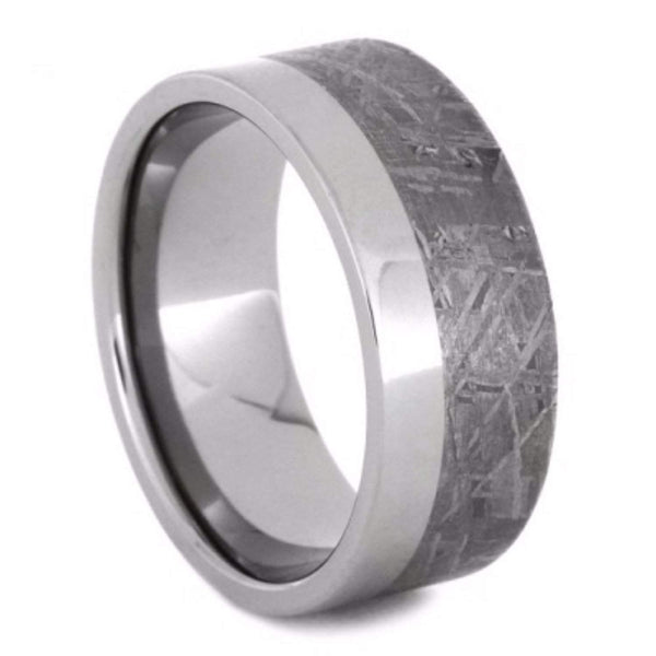 The Men's Jewelry Store (Unisex Jewelry) Two-Tone Gibeon Meteorite 9mm Comfort-Fit Titanium Wedding Band
