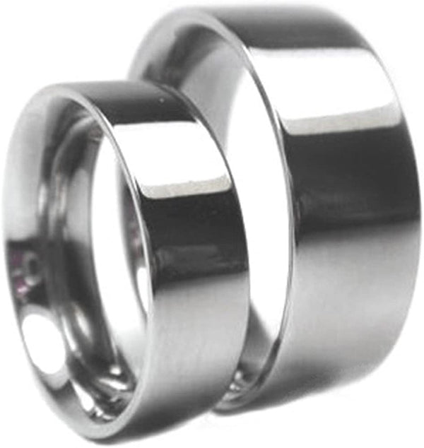 Titanium Wedding Flat Ring, His and Hers Wedding Band Set, M12-F7