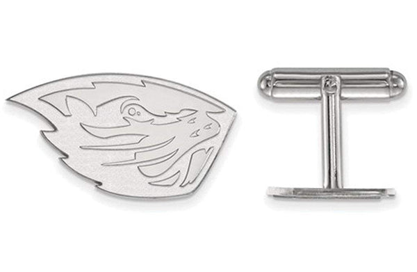 Rhodium-Plated Sterling Silver, Oregon State University Cuff Links, 16MM