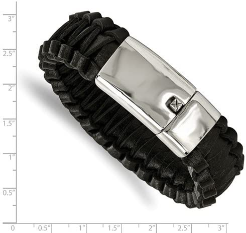 Men's Stainless Steel Flat Braided Black Leather Bracelet, 8.5 Inches