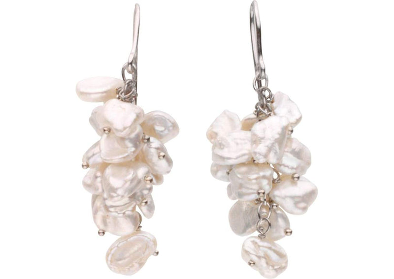 Sterling Silver Freshwater Keshi White Cultured Pearl Earring 8.00-9.00 MM