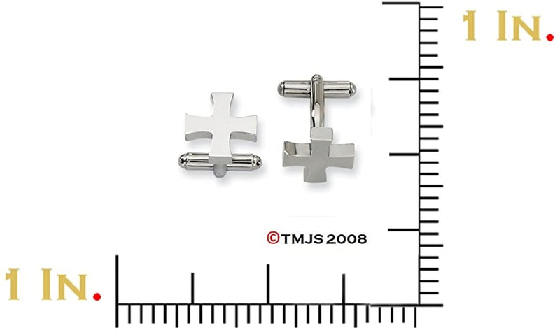 Stainless Steel Cross Cuff Links, 16MM