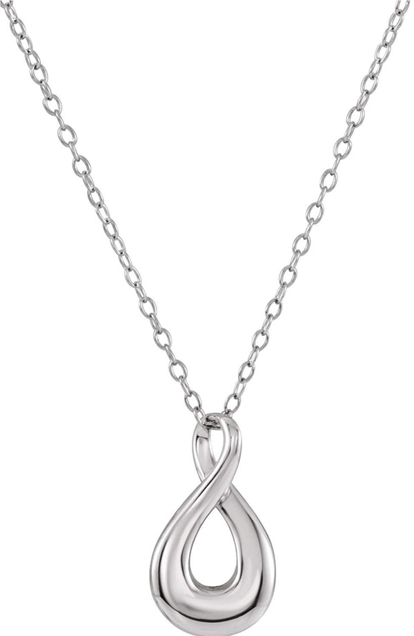 Infinity Loop Ash Holder Necklace, Rhodium Plated Sterling Silver, 18""