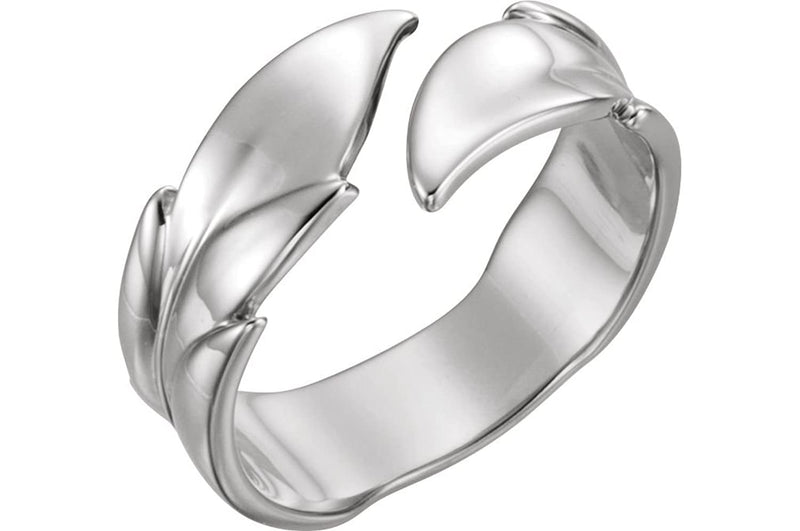 Bypass Rose Leaf Ring, Rhodium-Plated 14k White Gold