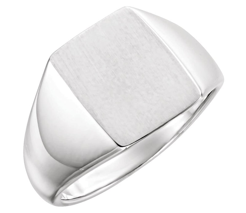 Men's Brushed Signet Ring, Rhodium-Plated 14k White Gold (15x12mm)