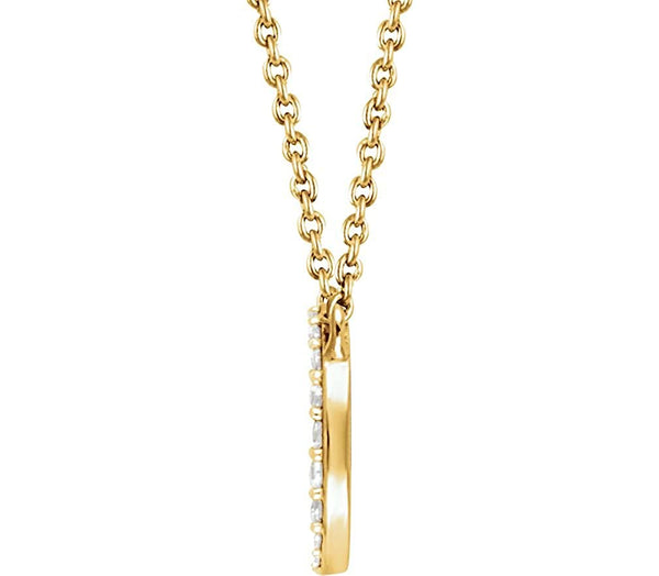 "Round 41-Stone Diamond Pendant Necklace in 14k Yellow Gold, 18"" (.34 Ctw, H+ Color, I1 Clarity))"