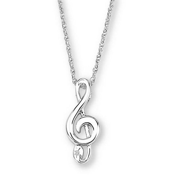 "Diamond Music Note Pendant Necklace, Rhodium Plated Sterling Silver, 18"" (.005 Ct)"