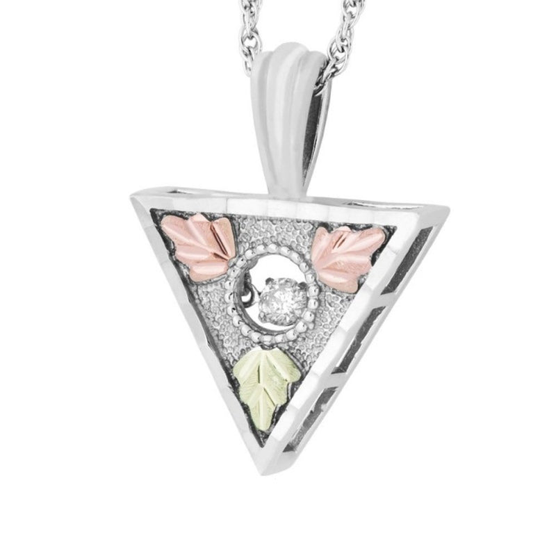"Diamond Triangle Pendant Necklace, Sterling Silver, 12k Green and Rose Gold Black Hills Gold Motif, 18"" (0.10 Ct)"