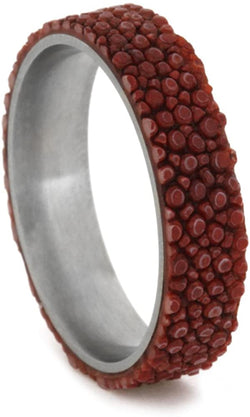 Red Stingray Leather 5mm Comfort-Fit Matte Titanium Wedding Band, Size 5.5