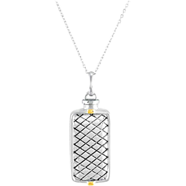 Rhodium Plate Sterling Silver and 14k Yellow Gold Ash Holder Necklace, 18""