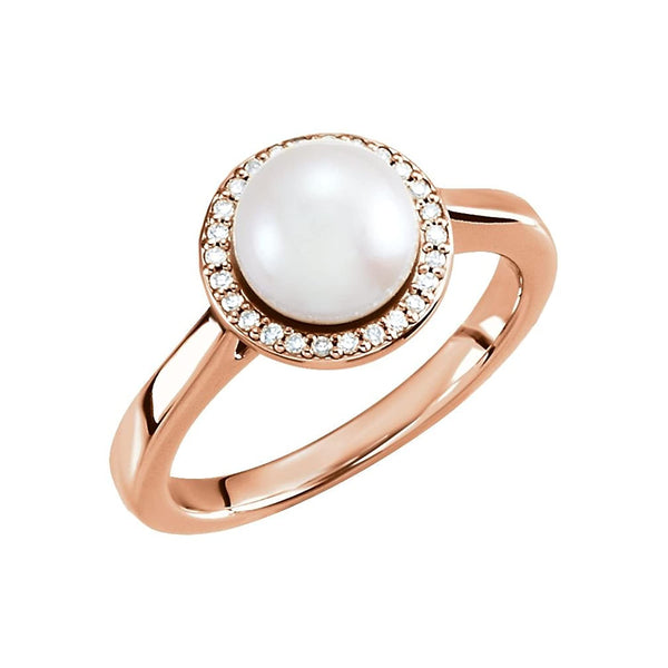White Freshwater Cultured Pearl and Diamond Halo Ring, 14k Rose Gold (7.5-8mm) (.08Ctw, G-H Color, I1 Clarity) Size 6