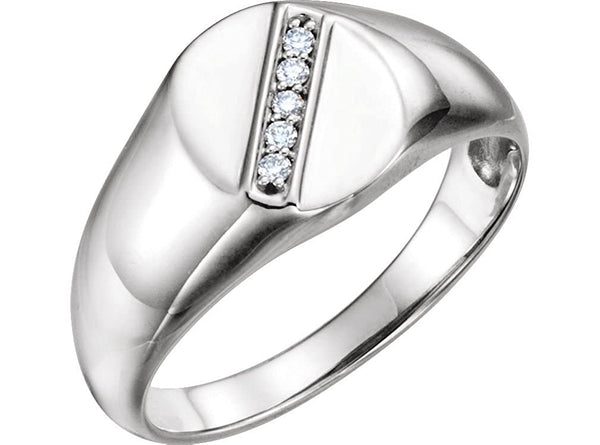 Men's Diamond Journey Ring, Rhodium-Plated 14k White Gold (.08 Ctw, G-H Color, I1 Clarity)