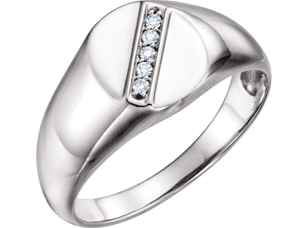 Men's Platinum Diamond Journey Ring (.08 Ctw, G-H Color, SI2-SI3 Clarity) Size 13