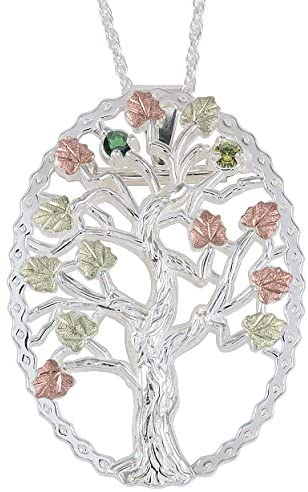 Emerald and Peridot Tree Pendant Necklace, Sterling Silver, 12k Green and Rose Gold Black Hills Gold Motif, 18""