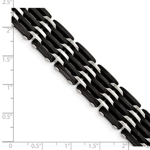 Men's Stainless Steel 15mm Black Rubber Bracelet, 8.25 Inches