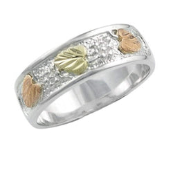 Frosty Leaf Mirror Polished Band Ring, Sterling Silver, 12k Green and Rose Gold Black Hills Gold Motif