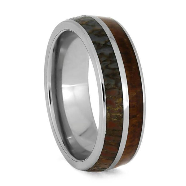 The Men's Jewelry Store (Unisex Jewelry) Dinosaur Bone, Teak Wood 7mm Comfort-Fit Titanium Band