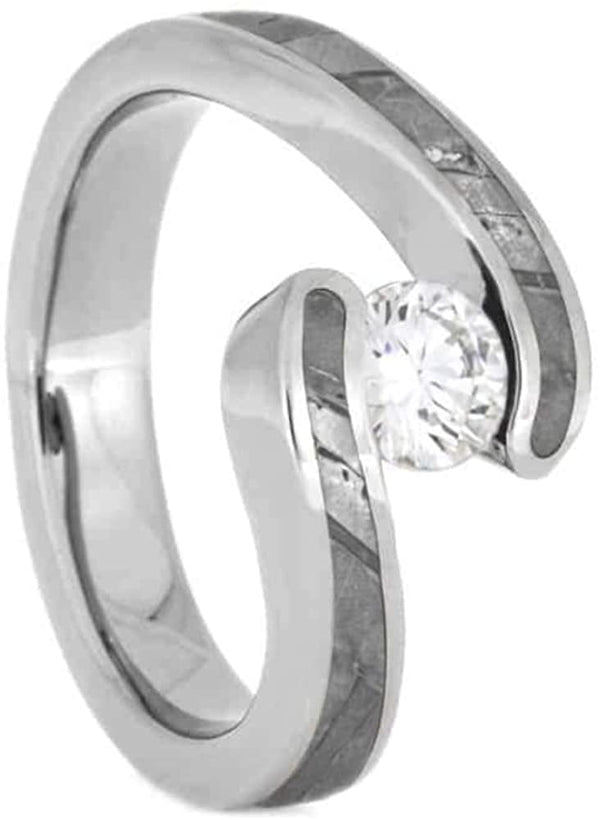 The Men's Jewelry Store (Unisex Jewelry) Diamond Seymchan Meteorite 10mm Comfort-Fit Titanium Engagement Ring, Size 8.75