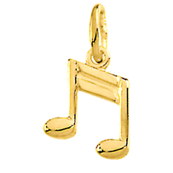 14k Yellow Gold Eighth Notes Music Charm Pendant