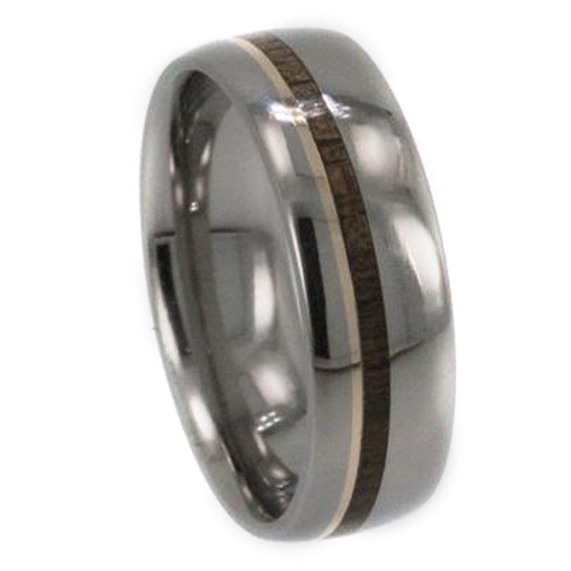 Bocote Wood, 14k Yellow Gold Pinstripe 8mm Comfort-Fit Titanium Band