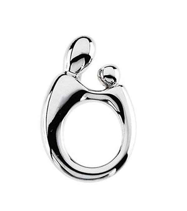 14k White Gold Small Mother and Child Pendant