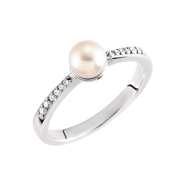 White Freshwater Cultured Pearl and Diamond Ring, Rhodium-Plated 14k White Gold (5.5-6mm) (.07Ctw, G-H Color, I1 Clarity) Size 7