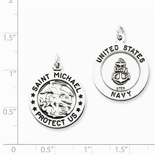 Sterling Silver Antiqued Saint Michael Navy Medal (26X20MM)