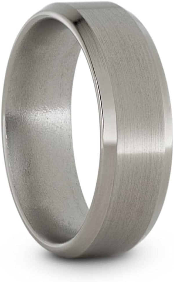 Satin Titanium 7mm Comfort-Fit Beveled Edge Wedding Band, Size 10.5