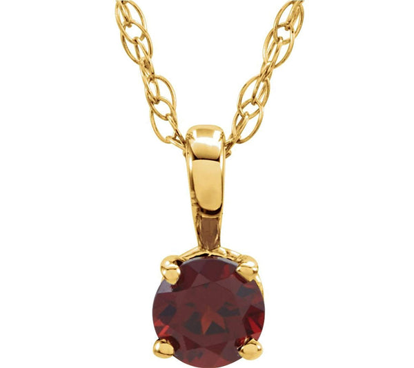Children's Mozambique Garnet Birthstone 14k Yellow Gold Pendant Necklace, 14""
