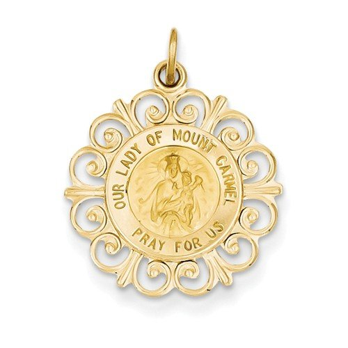 14k Yellow Gold Our Lady of Mt. Carmel Medal Charm (24X19MM)