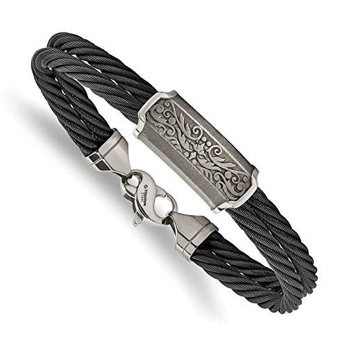 Men's Heritage Collection Gray Titanium 13mm Black Memory Cable Casted Bangle Bracelet, 8""