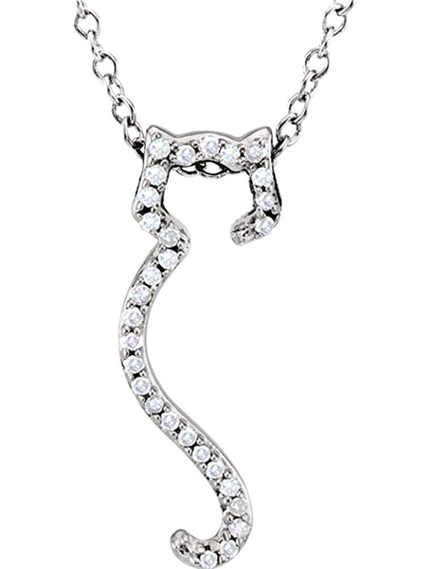 "Diamond Cat Silhouette Sterling Silver Necklace, 18"" with Charm Pet Collar Tag"