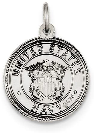 Sterling Silver St. Christopher US Navy Medal Pendant (25X20 MM)