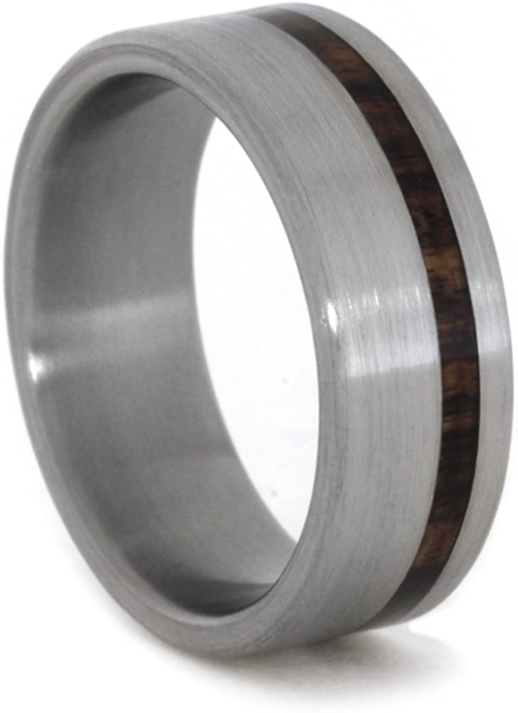 King Wood Inlay 7mm Comfort-Fit Brushed Titanium Wedding Band