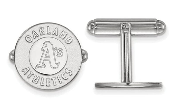 Rhodium-Plated Sterling Silver MLB Oakland Athletics Round Cuff Links, 15MM