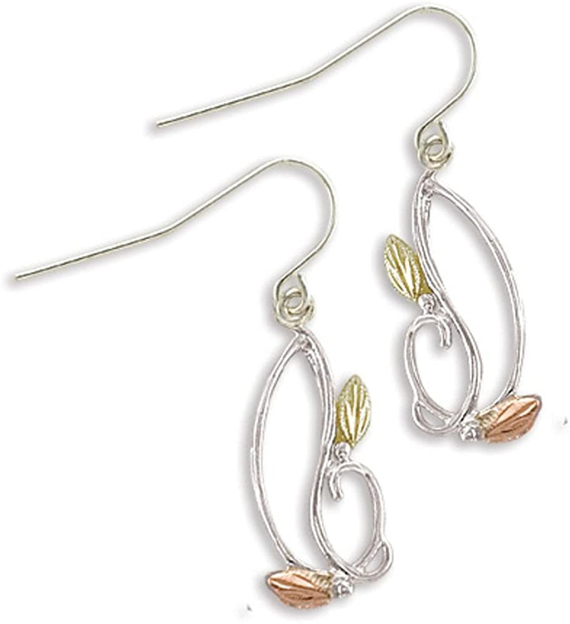 Freeform Leaf Earrings, Sterling Silver, 12k Green and Rose Gold Black Hills Gold Motif