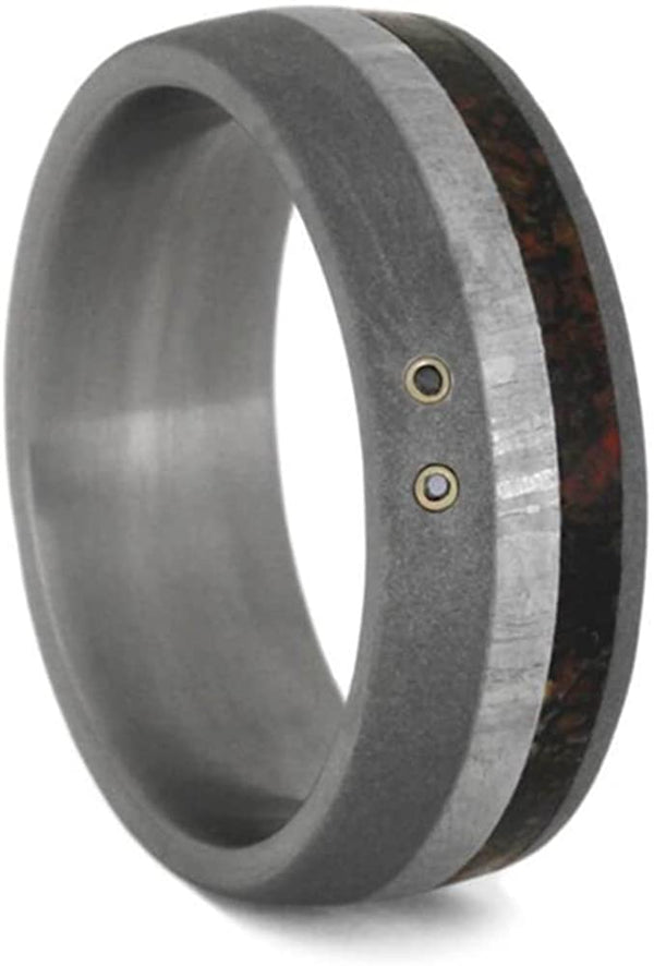 The Men's Jewelry Store (Unisex Jewelry) Black Diamond, Dinosaur Bone, Meteorite 8mm Sandblasted Titanium Comfort-Fit Wedding Band, Size 12.25