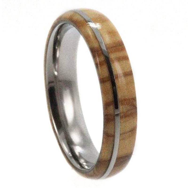 Olive Wood 6mm Comfort-Fit Dome Titanium Band