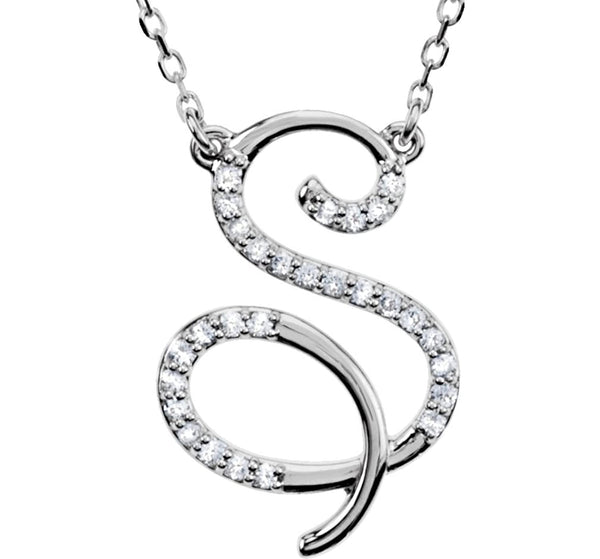 "Diamond Initial Letter 'S' Rhodium-Plated 14k White Gold Pendant Necklace, 17"" (GH, I1, 1/6 Ctw)"